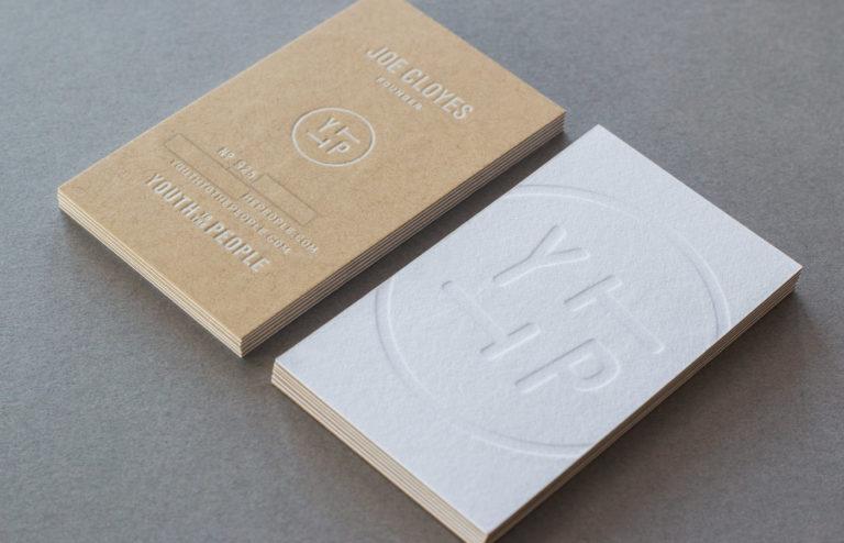 white foil blind deboss business card