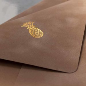 Gold foil stamped velvet inner envelope